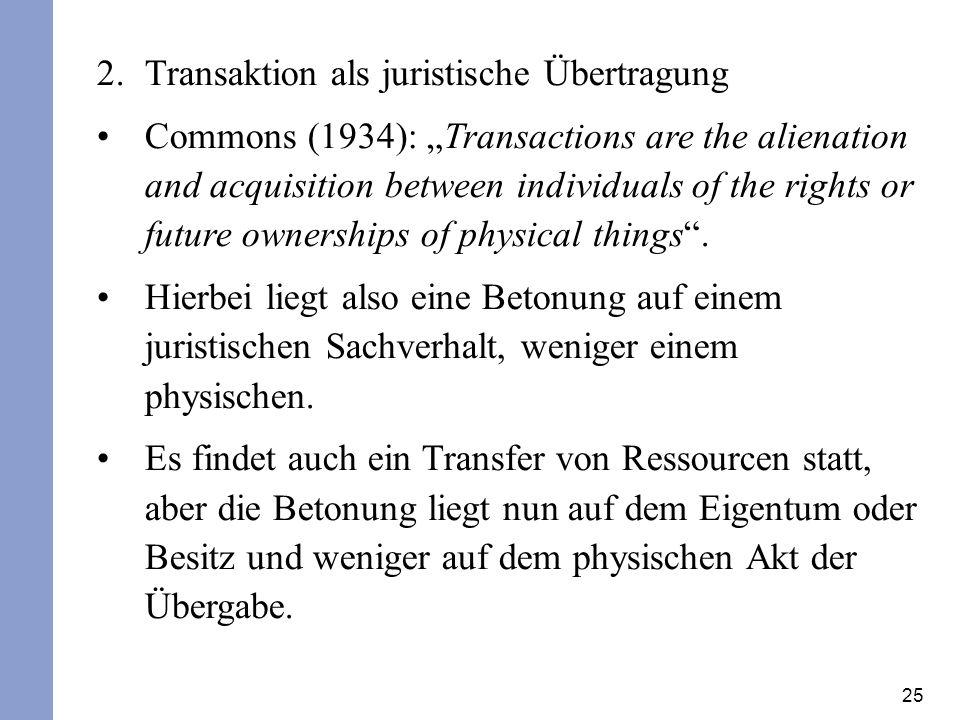 Transaktion als juristische Übertragung