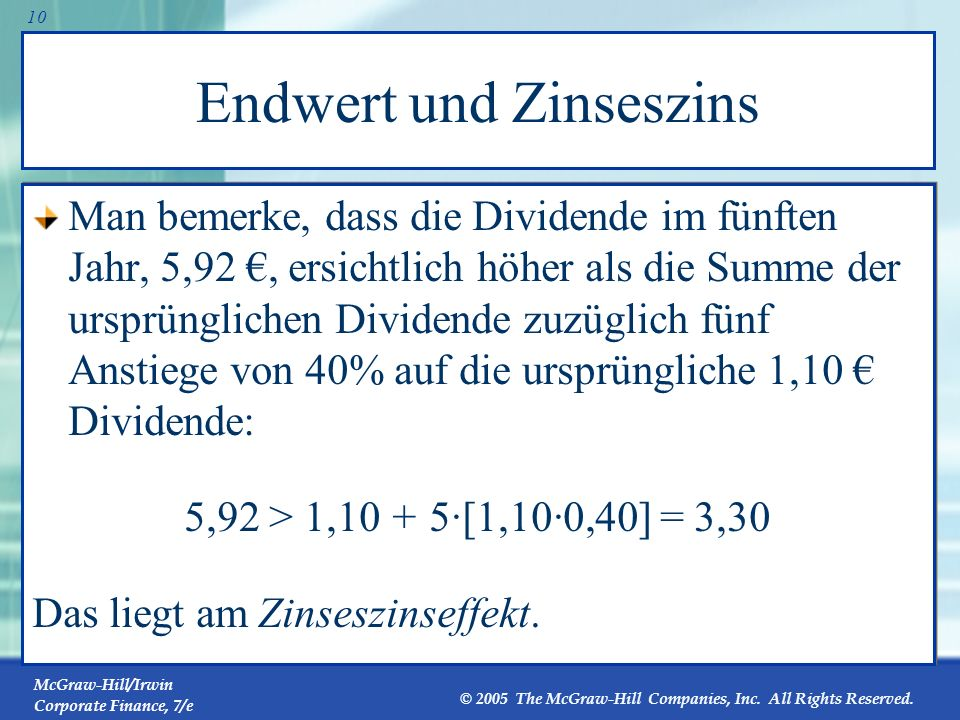 Endwert und Zinseszins