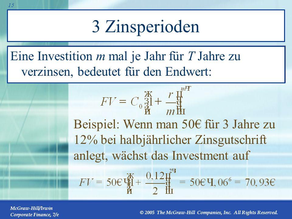 3 Zinsperioden Eine Investition m mal je Jahr für T Jahre zu verzinsen, bedeutet für den Endwert: