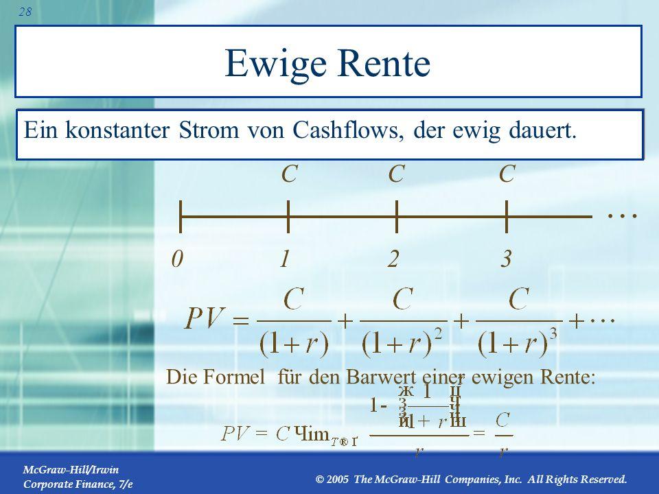 Ewige Rente … Ein konstanter Strom von Cashflows, der ewig dauert. 1 C