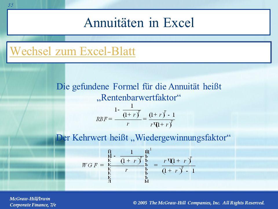 Annuitäten in Excel Wechsel zum Excel-Blatt