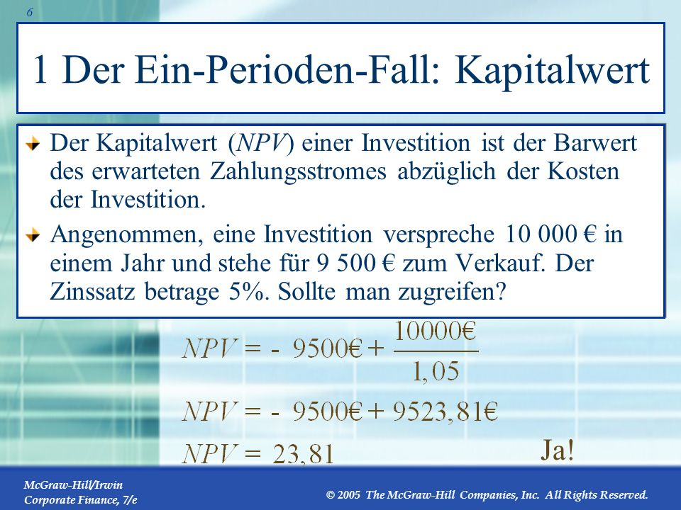 1 Der Ein-Perioden-Fall: Kapitalwert