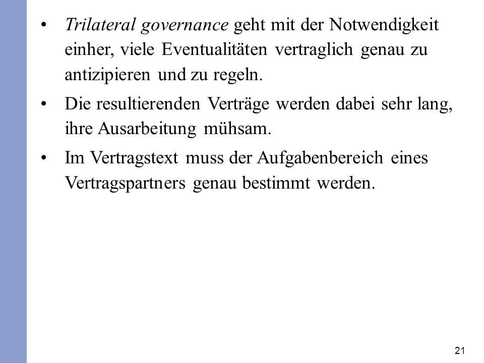 Trilateral governance geht mit der Notwendigkeit einher, viele Eventualitäten vertraglich genau zu antizipieren und zu regeln.