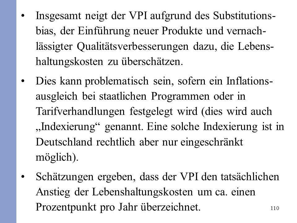 Insgesamt neigt der VPI aufgrund des Substitutions-bias, der Einführung neuer Produkte und vernach-lässigter Qualitätsverbesserungen dazu, die Lebens-haltungskosten zu überschätzen.