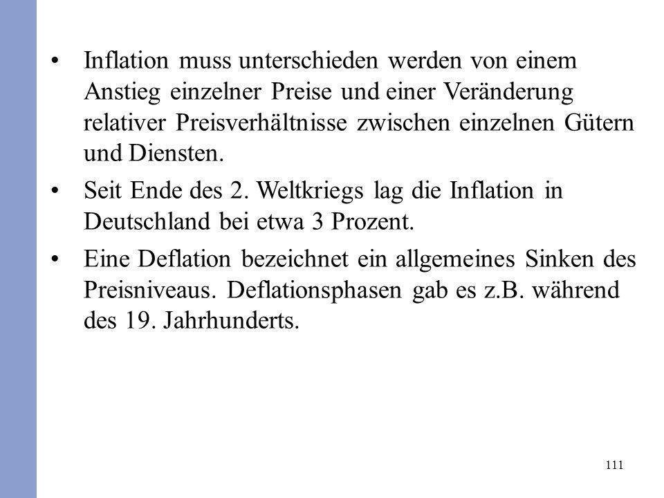 Inflation muss unterschieden werden von einem Anstieg einzelner Preise und einer Veränderung relativer Preisverhältnisse zwischen einzelnen Gütern und Diensten.