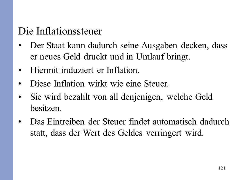 Die InflationssteuerDer Staat kann dadurch seine Ausgaben decken, dass er neues Geld druckt und in Umlauf bringt.