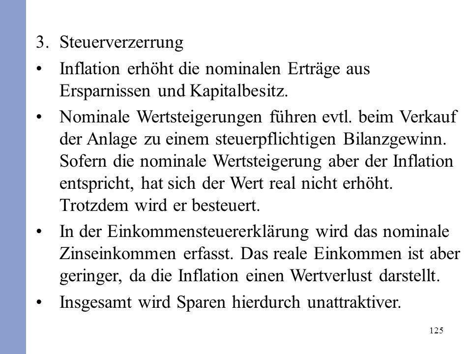 SteuerverzerrungInflation erhöht die nominalen Erträge aus Ersparnissen und Kapitalbesitz.