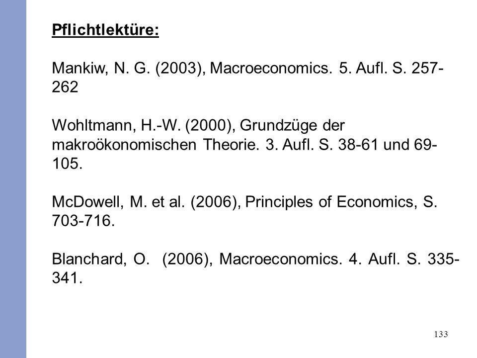 Pflichtlektüre: Mankiw, N. G. (2003), Macroeconomics. 5. Aufl. S. 257-262.