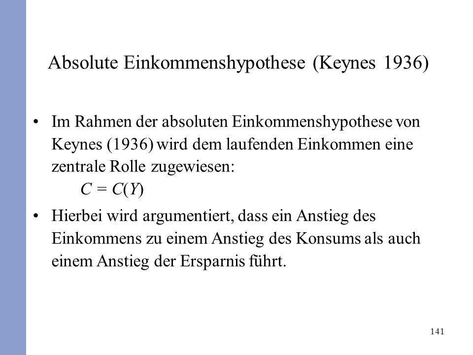Absolute Einkommenshypothese (Keynes 1936)
