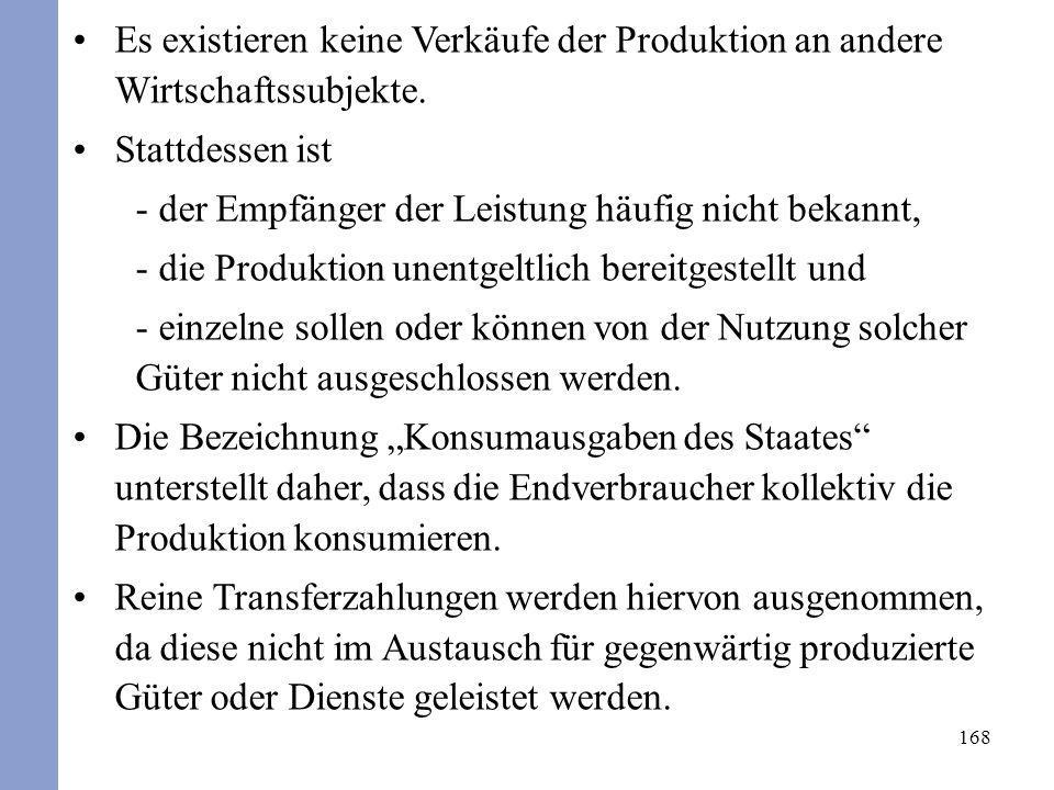 Es existieren keine Verkäufe der Produktion an andere Wirtschaftssubjekte.
