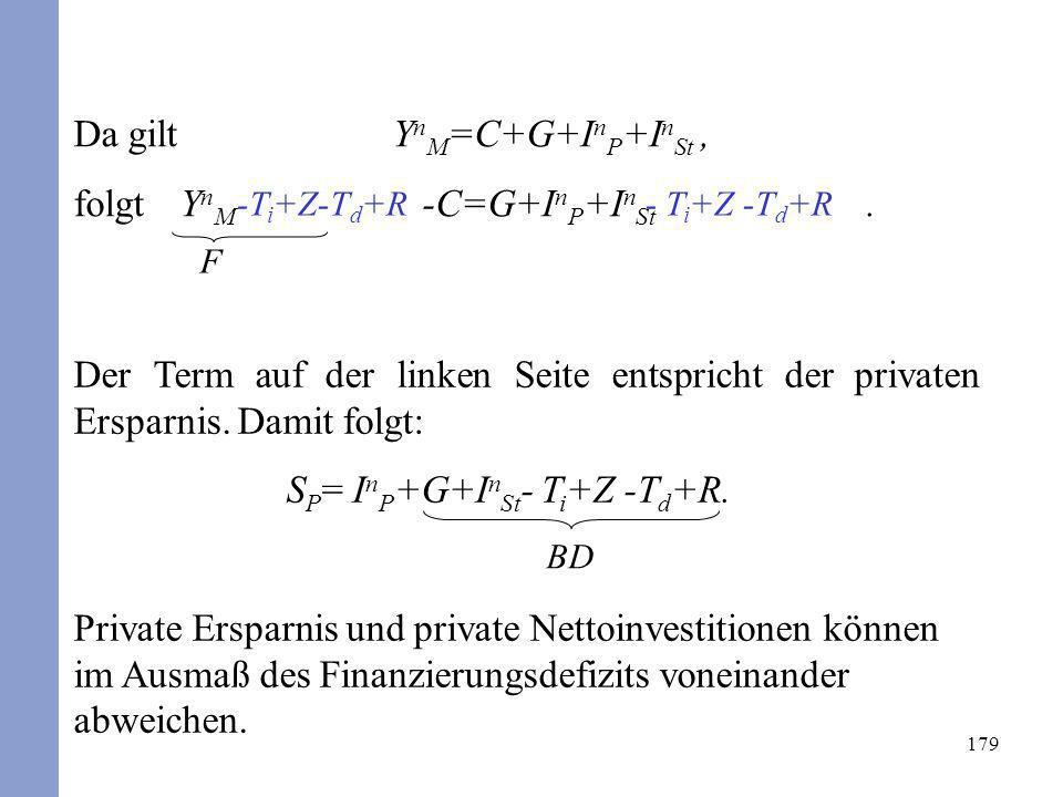 Da gilt YnM=C+G+InP+InSt , folgt YnM -C=G+InP+InSt .
