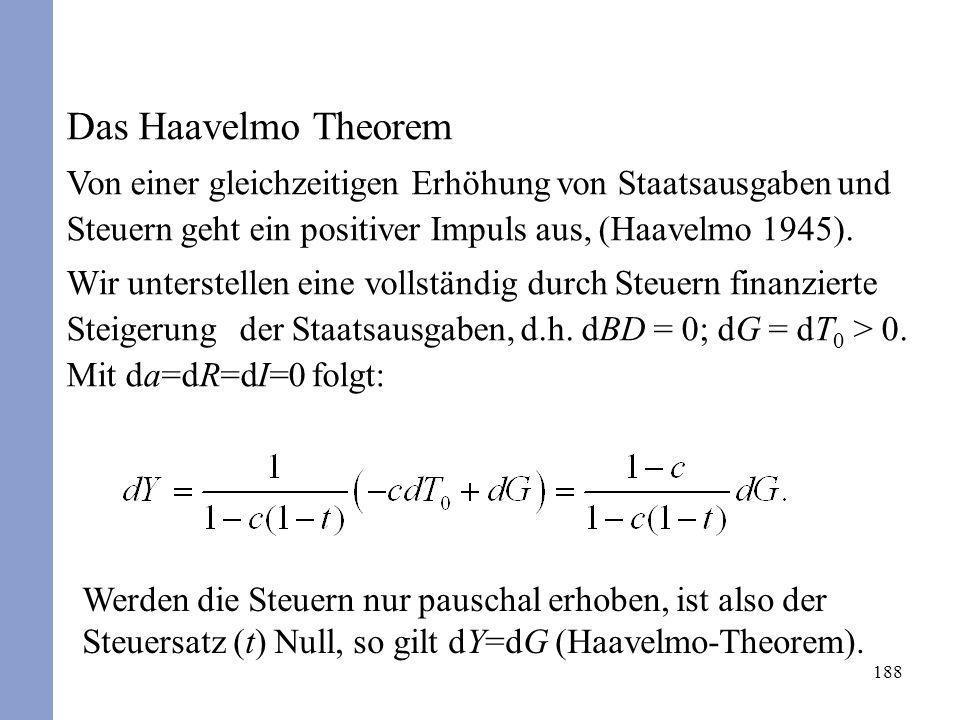 Das Haavelmo TheoremVon einer gleichzeitigen Erhöhung von Staatsausgaben und Steuern geht ein positiver Impuls aus, (Haavelmo 1945).