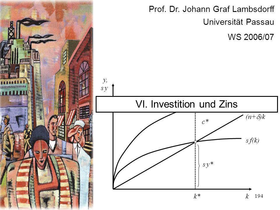 VI. Investition und Zins