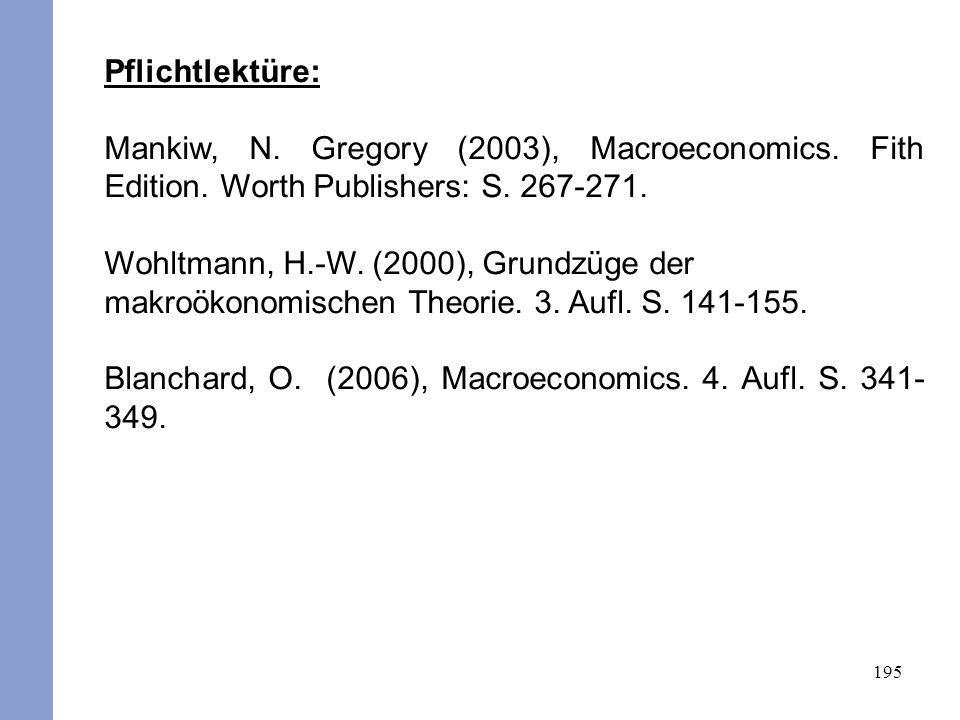 Pflichtlektüre: Mankiw, N. Gregory (2003), Macroeconomics. Fith Edition. Worth Publishers: S. 267-271.