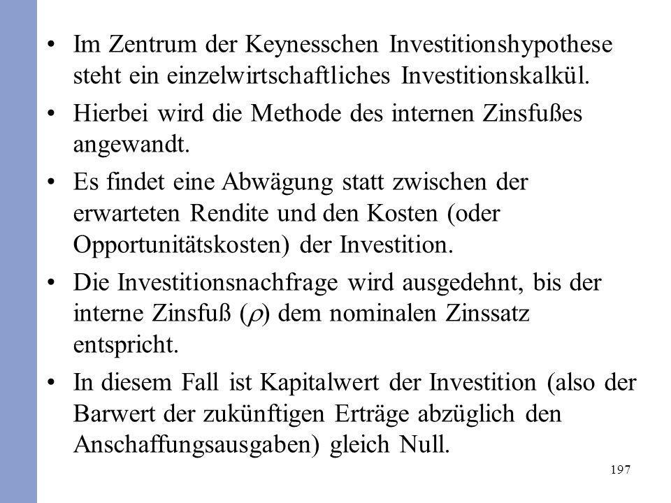 Im Zentrum der Keynesschen Investitionshypothese steht ein einzelwirtschaftliches Investitionskalkül.