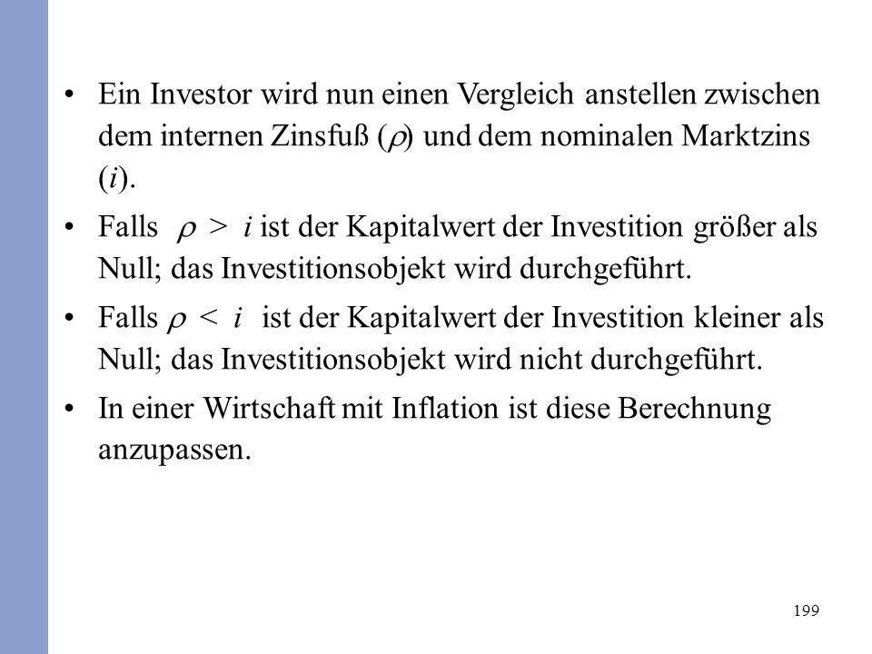 Ein Investor wird nun einen Vergleich anstellen zwischen dem internen Zinsfuß () und dem nominalen Marktzins (i).