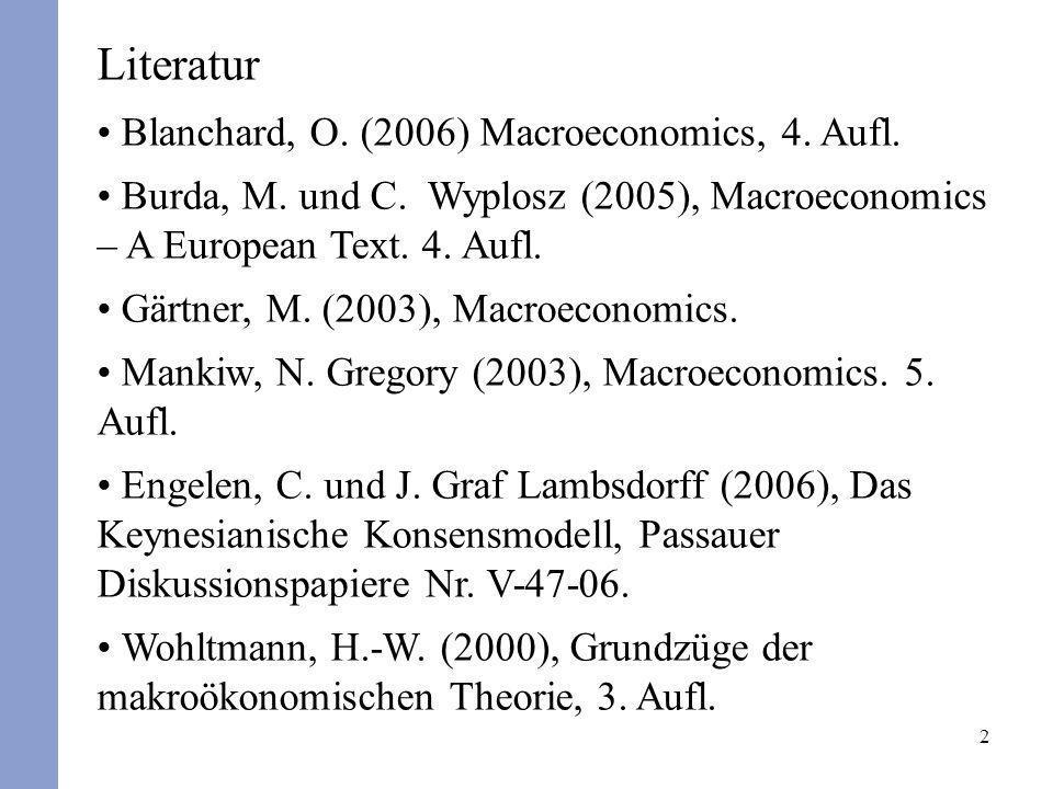 Literatur Blanchard, O. (2006) Macroeconomics, 4. Aufl.