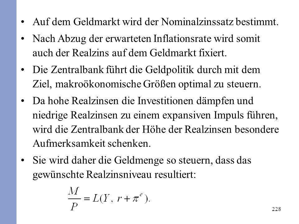 Auf dem Geldmarkt wird der Nominalzinssatz bestimmt.