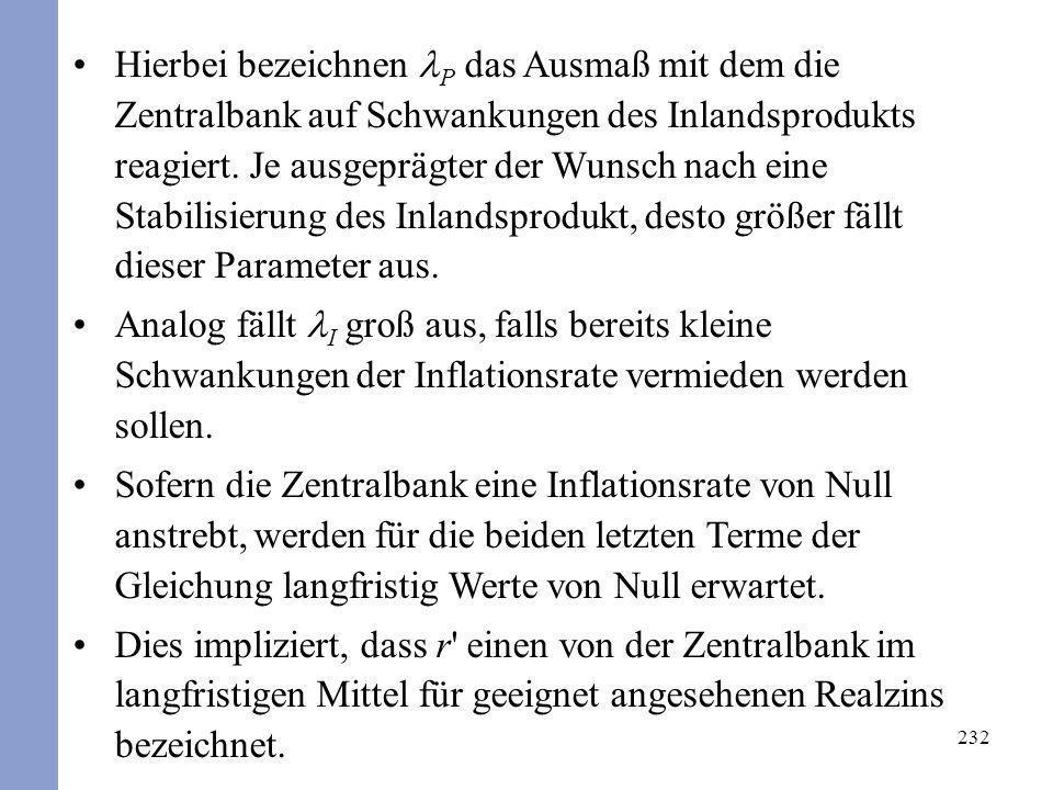 Hierbei bezeichnen lP das Ausmaß mit dem die Zentralbank auf Schwankungen des Inlandsprodukts reagiert. Je ausgeprägter der Wunsch nach eine Stabilisierung des Inlandsprodukt, desto größer fällt dieser Parameter aus.