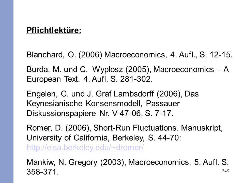 Pflichtlektüre: Blanchard, O. (2006) Macroeconomics, 4. Aufl., S. 12-15.