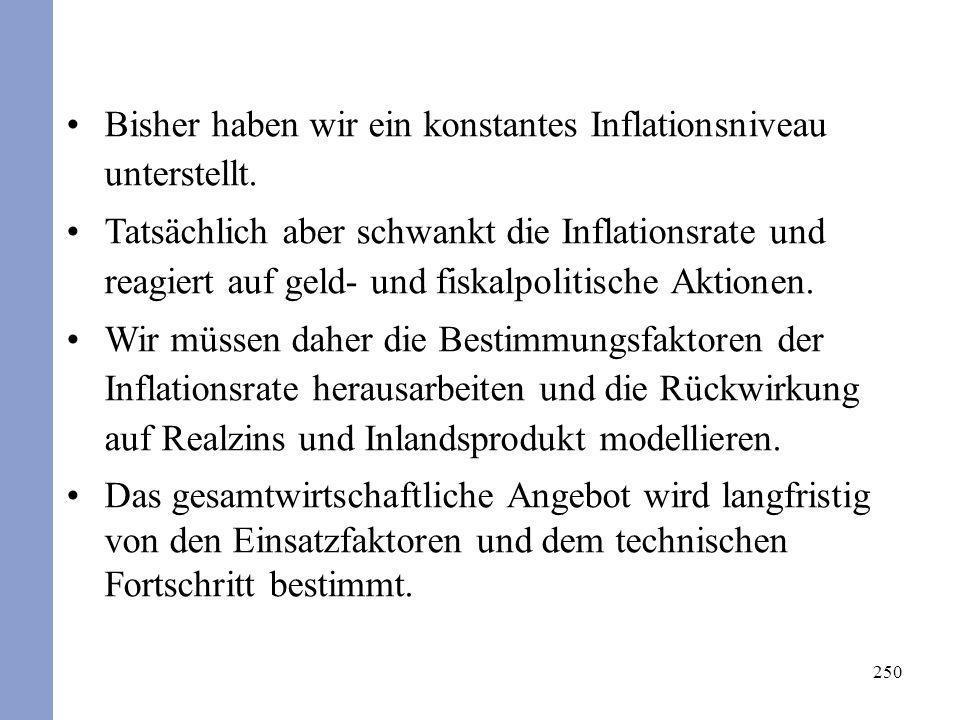 Bisher haben wir ein konstantes Inflationsniveau unterstellt.