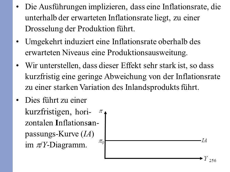Die Ausführungen implizieren, dass eine Inflationsrate, die unterhalb der erwarteten Inflationsrate liegt, zu einer Drosselung der Produktion führt.