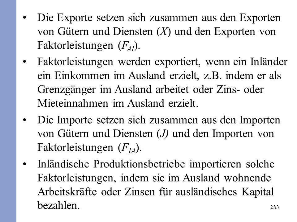 Die Exporte setzen sich zusammen aus den Exporten von Gütern und Diensten (X) und den Exporten von Faktorleistungen (FAI).