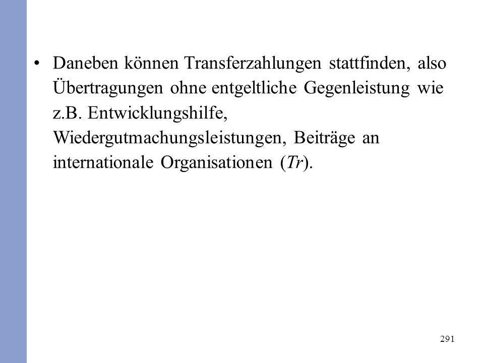 Daneben können Transferzahlungen stattfinden, also Übertragungen ohne entgeltliche Gegenleistung wie z.B. Entwicklungshilfe, Wiedergutmachungsleistungen, Beiträge an internationale Organisationen (Tr).