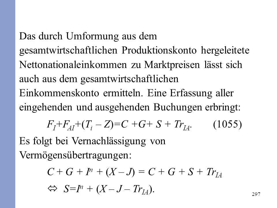 FI+FAI+(Ti – Z)=C +G+ S + TrIA. (1055)