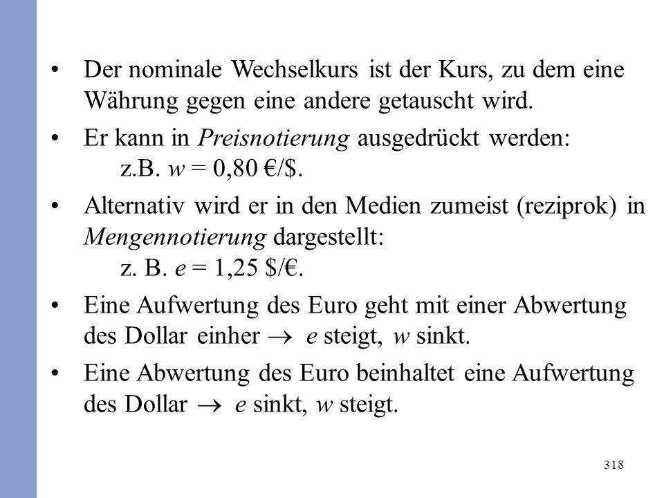 Der nominale Wechselkurs ist der Kurs, zu dem eine Währung gegen eine andere getauscht wird.