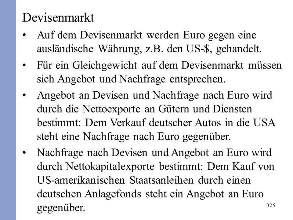 Devisenmarkt Auf dem Devisenmarkt werden Euro gegen eine ausländische Währung, z.B. den US-$, gehandelt.