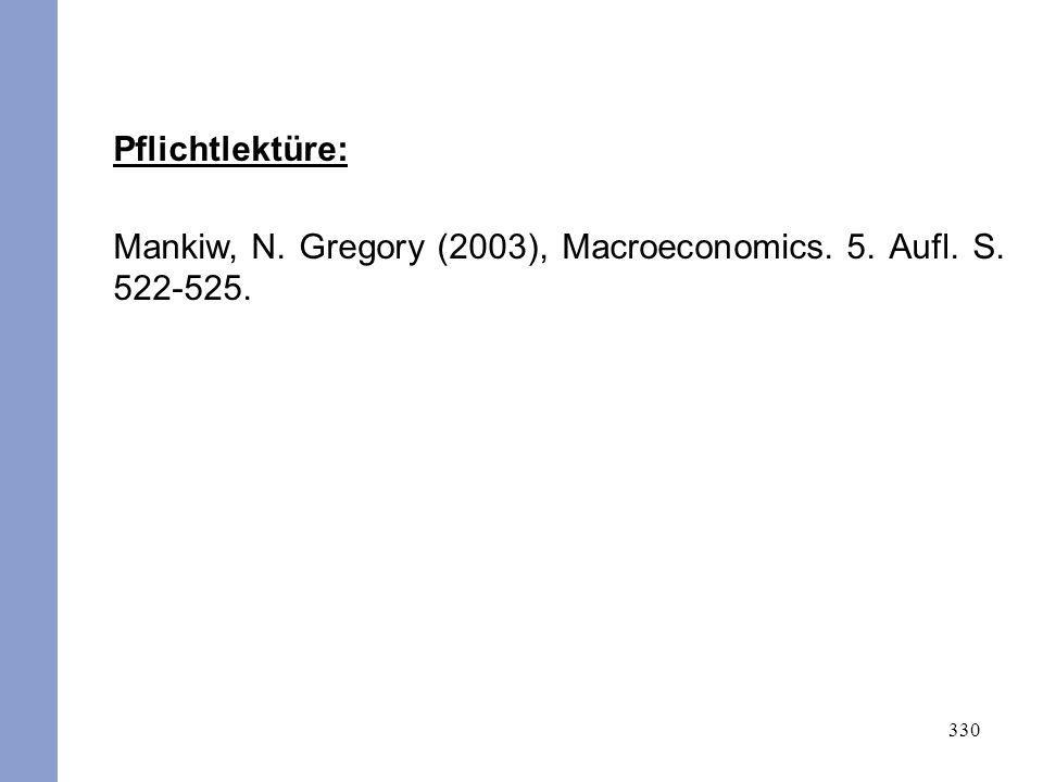 Pflichtlektüre: Mankiw, N. Gregory (2003), Macroeconomics. 5. Aufl. S. 522-525.