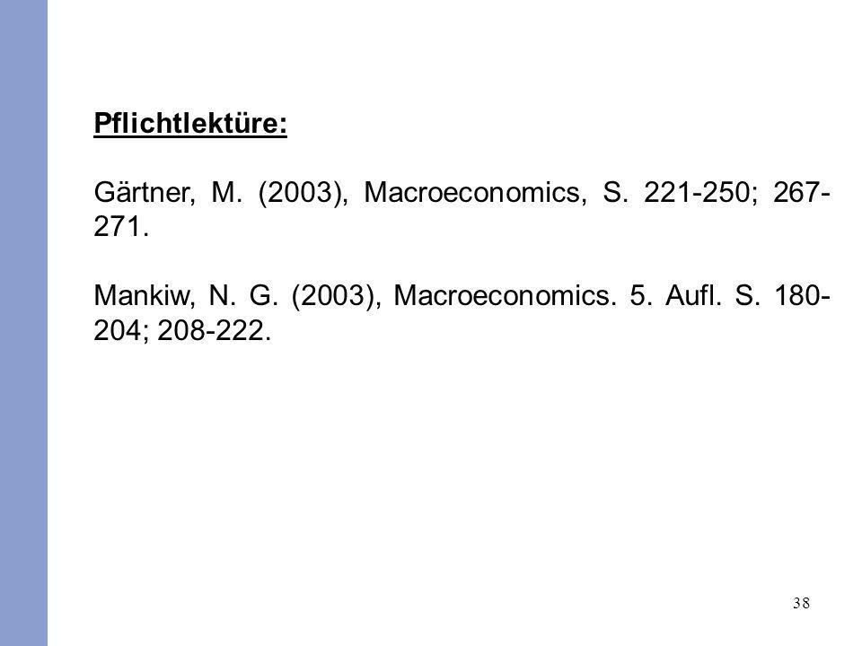 Pflichtlektüre: Gärtner, M. (2003), Macroeconomics, S.