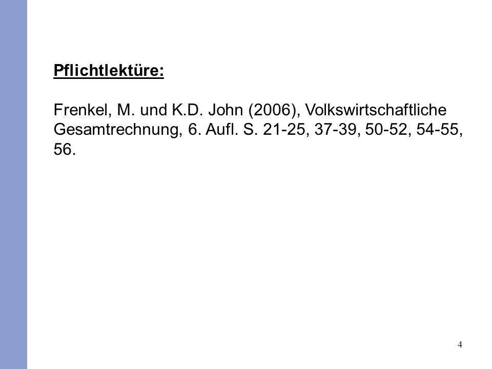 Pflichtlektüre: Frenkel, M. und K.D. John (2006), Volkswirtschaftliche Gesamtrechnung, 6.
