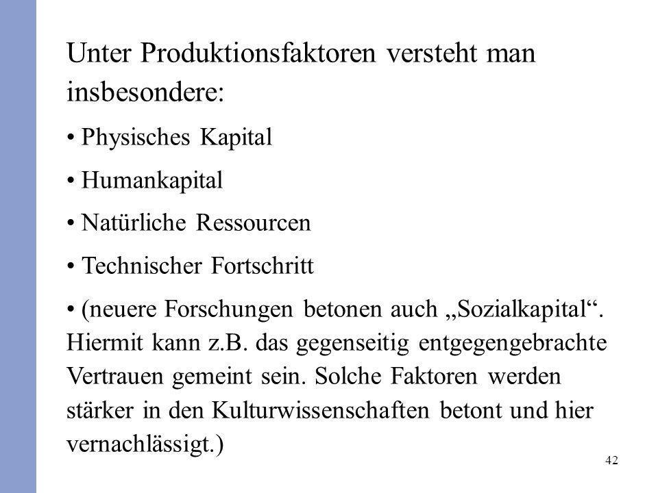 Unter Produktionsfaktoren versteht man insbesondere: