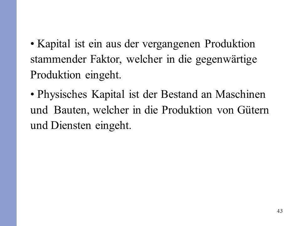 Kapital ist ein aus der vergangenen Produktion stammender Faktor, welcher in die gegenwärtige Produktion eingeht.