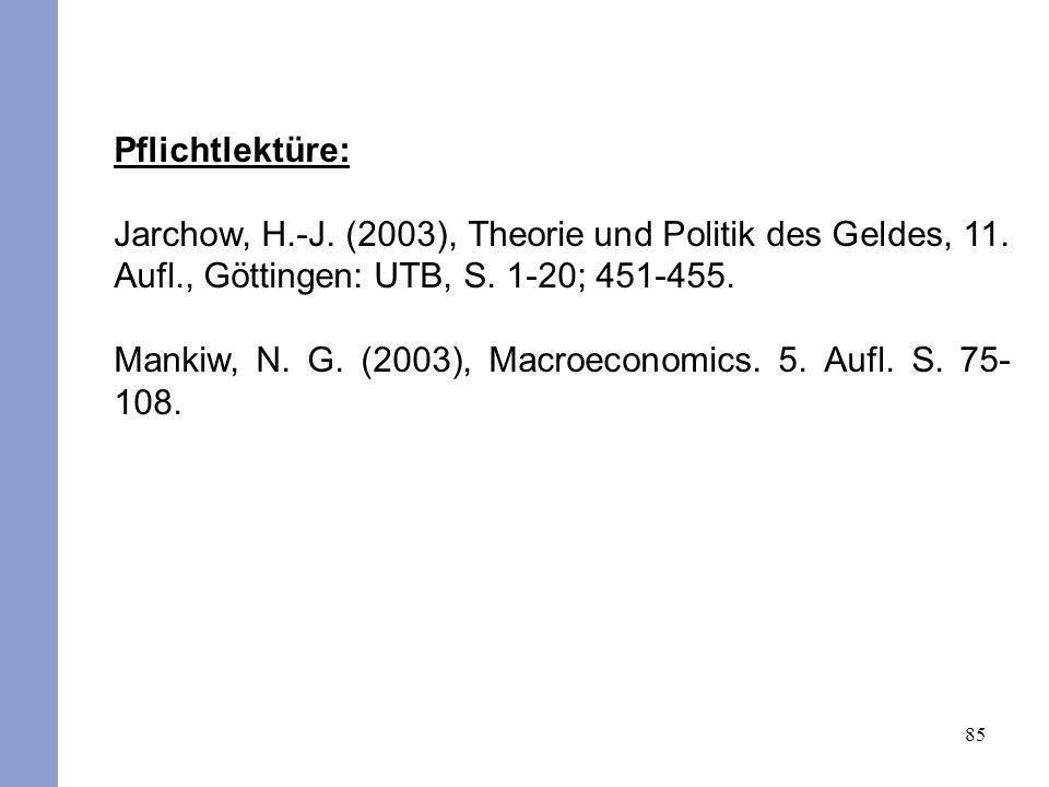 Pflichtlektüre: Jarchow, H.-J. (2003), Theorie und Politik des Geldes, 11. Aufl., Göttingen: UTB, S. 1-20; 451-455.