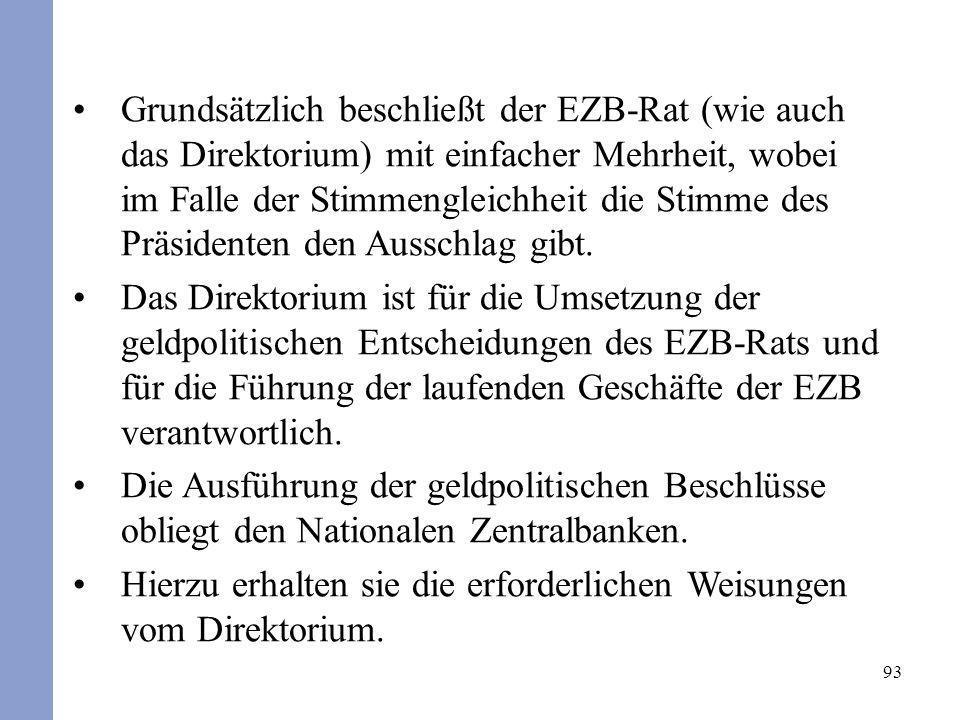 Grundsätzlich beschließt der EZB-Rat (wie auch das Direktorium) mit einfacher Mehrheit, wobei im Falle der Stimmengleichheit die Stimme des Präsidenten den Ausschlag gibt.