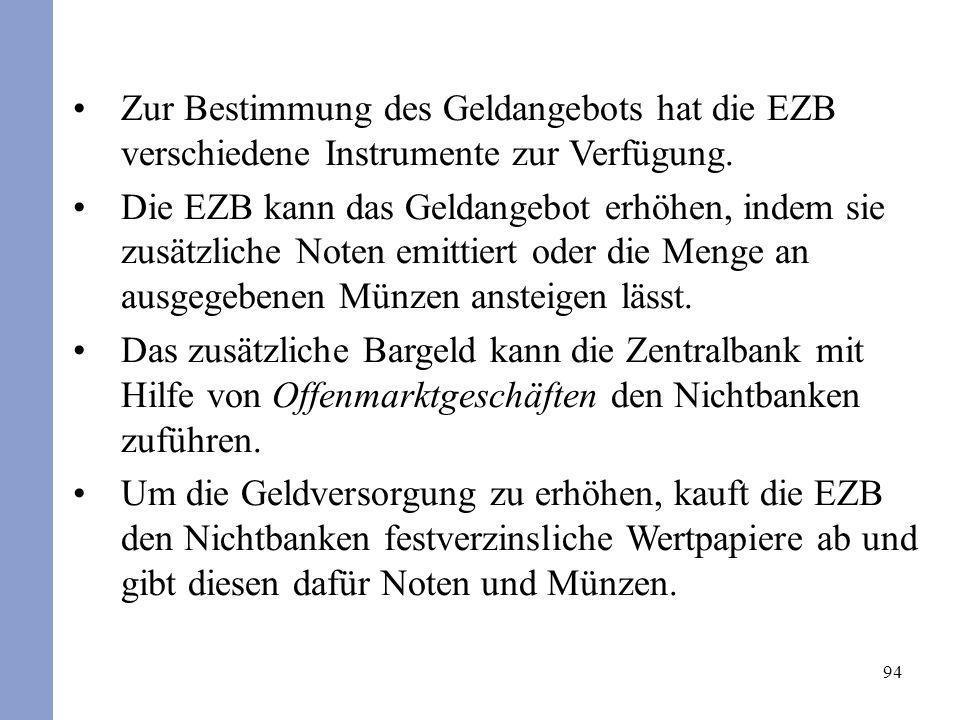 Zur Bestimmung des Geldangebots hat die EZB verschiedene Instrumente zur Verfügung.