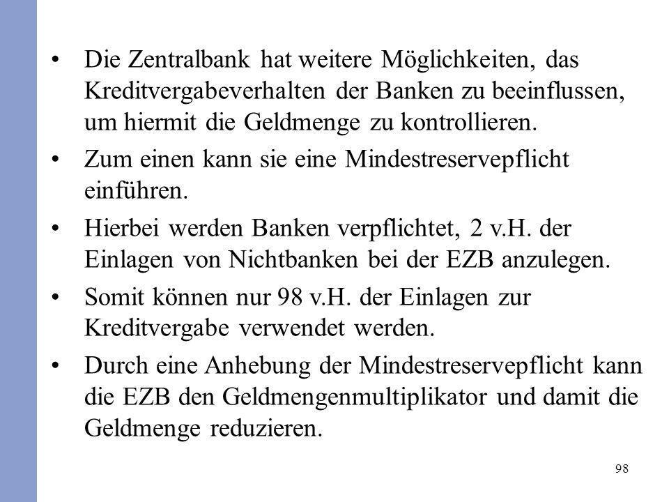 Die Zentralbank hat weitere Möglichkeiten, das Kreditvergabeverhalten der Banken zu beeinflussen, um hiermit die Geldmenge zu kontrollieren.
