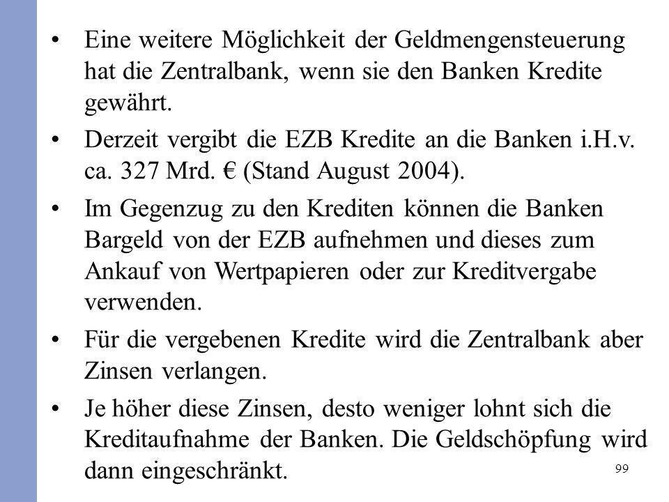 Eine weitere Möglichkeit der Geldmengensteuerung hat die Zentralbank, wenn sie den Banken Kredite gewährt.