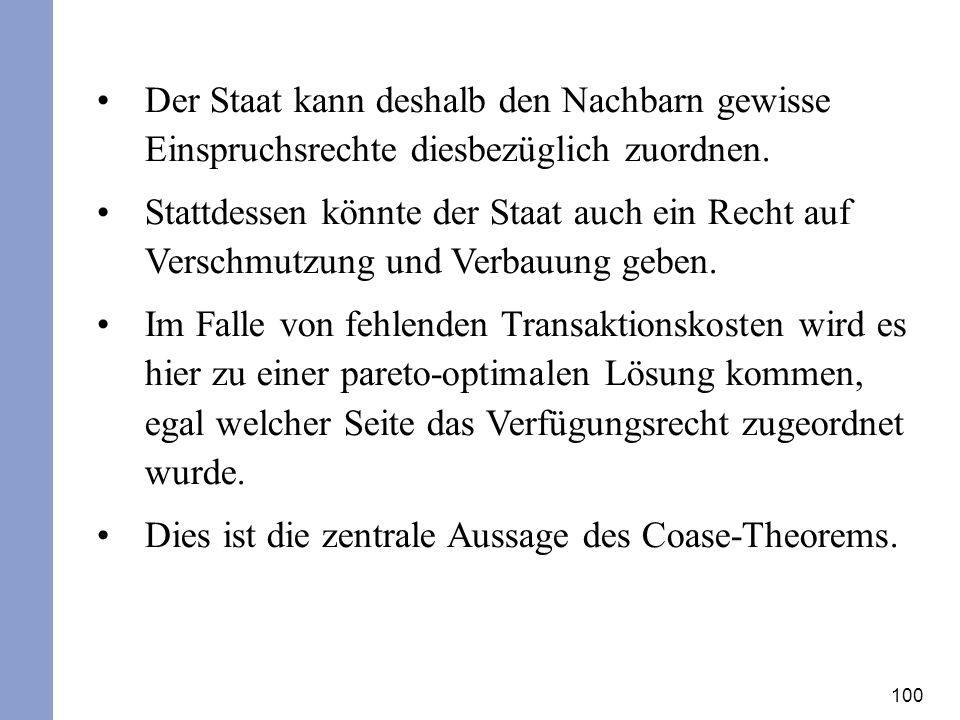 Dies ist die zentrale Aussage des Coase-Theorems.