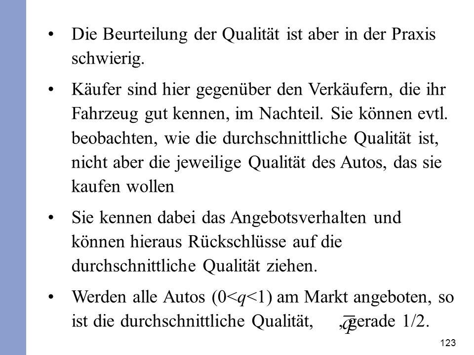 Die Beurteilung der Qualität ist aber in der Praxis schwierig.