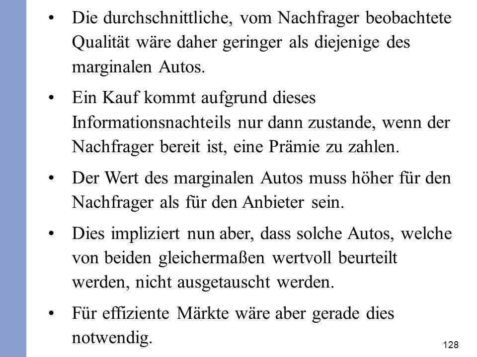 Die durchschnittliche, vom Nachfrager beobachtete Qualität wäre daher geringer als diejenige des marginalen Autos.