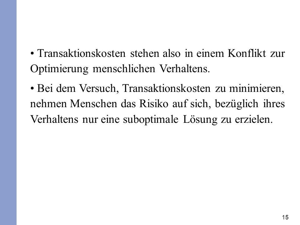 Transaktionskosten stehen also in einem Konflikt zur Optimierung menschlichen Verhaltens.