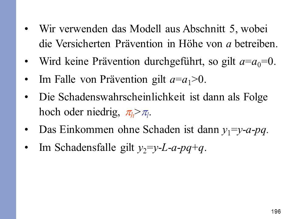 Wir verwenden das Modell aus Abschnitt 5, wobei die Versicherten Prävention in Höhe von a betreiben.