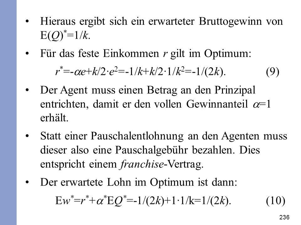 Hieraus ergibt sich ein erwarteter Bruttogewinn von E(Q)*=1/k.