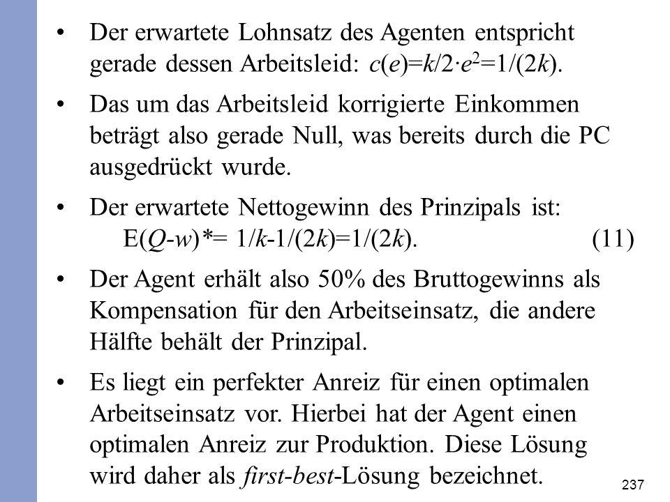 Der erwartete Lohnsatz des Agenten entspricht gerade dessen Arbeitsleid: c(e)=k/2·e2=1/(2k).