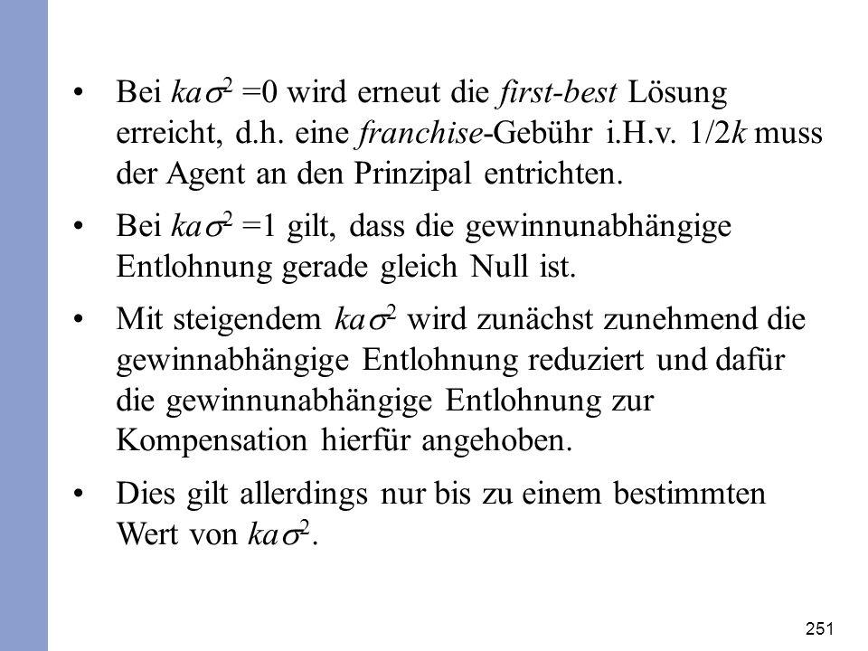 Bei kas2 =0 wird erneut die first-best Lösung erreicht, d. h