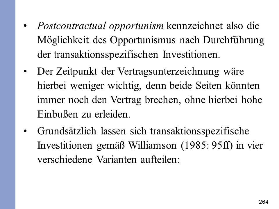 Postcontractual opportunism kennzeichnet also die Möglichkeit des Opportunismus nach Durchführung der transaktionsspezifischen Investitionen.